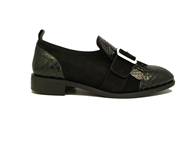 Hb Black Leather Suede Moccasin With Fringe Detail